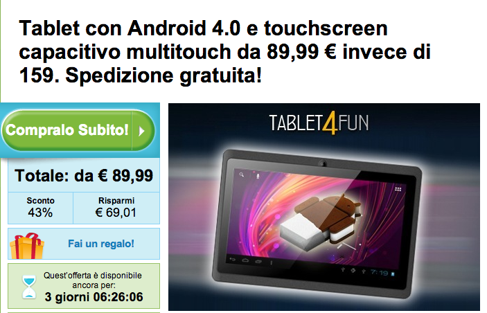 Offerta Tablet Android su Groupon