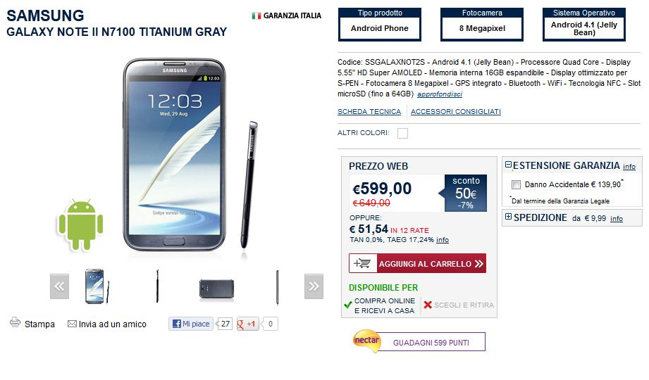 Offerta Samsung Galaxy Note 2