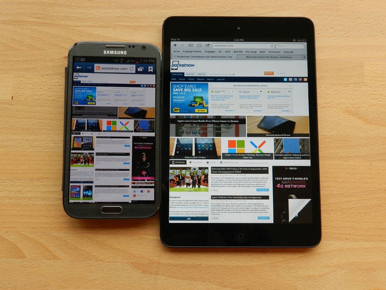 Samsung Galaxy Note 2 vs iPad Mini: il confronto!